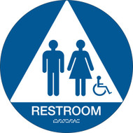 A blue and white photograph of a 03480 California ada restroom sign with grade 2 braille and wheelchair graphic.