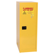 A photograph of a yellow 02004 eagle deep space saver flammable liquid safety cabinets, with 48 gallon storage capacity and door closed.
