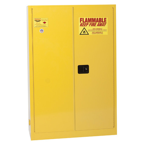 A photograph of a yellow standard 02005 eagle flammable liquid safety cabinets, with 45 gallon capacity and both doors closed.