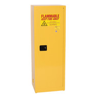 A photograph of a yellow 02007 eagle space saver flammable liquid safety cabinets, with 24 gallon capacity and door closed.