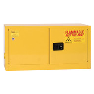 A photograph of a yellow 02011 eagle add-on flammable liquid safety cabinets, with 15 gallon capacity and doors closed.