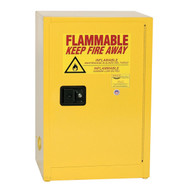 A photograph of a yellow standard 02012 eagle space saver flammable liquid safety cabinets, with 12 gallon capacity and door closed.