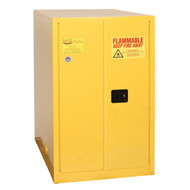 A photograph of a yellow 02035 eagle flammable drum cabinets, with horizontal 1 drum capacity and door closed.