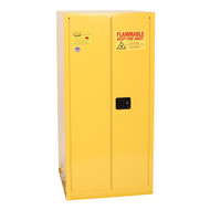 A photograph of a yellow 02037 eagle flammable drum cabinets, with vertical 1 drum capacity and doors closed.