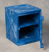 A photograph of a blue 02070 Eagle Modular Quik-Assembly™ Polyethylene Acid and Corrosive cabinet with 4 gallon capacity and door open.