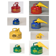 A photograph of a 02104 eagle type i galvanized steel safety cans, with 2 gallon capacity and optional funnel.