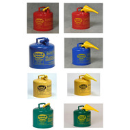 A photograph of a 02106 eagle type i galvanized steel safety cans, with 5 gallon capacity and optional attached funnel.