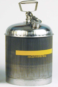 A photograph of a 02111 eagle type i stainless steel safety can  with 5 gallon capacity.