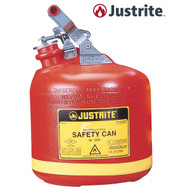 A photograph of a red 02115 justrite type i polyethylene safety can, with 2.5 gallon capacity.