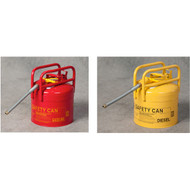 A photograph of a red and yellow 02119 eagle dot transport type ii safety cans, with pour spout and 5 gallon capacity.