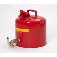 A photograph of a red galvanized 02120 eagle faucet safety can, with 5 gallon capacity.
