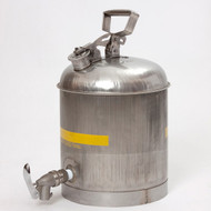 A photograph of a 02121 stainless steel eagle faucet safety can, with 5 gallon capacity.