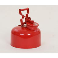 A photograph of a red galvanized metal 02125 eagle disposal safety can, with 2.5 gallon capacity.