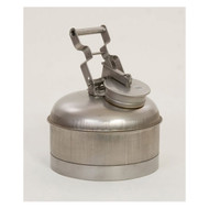 A photograph of a 02126 stainless steel eagle disposal safety can, with 2.5 gallon capacity.