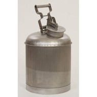 A photograph of a 02128 stainless steel eagle disposal safety can, with 5 gallon capacity.