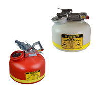 A photograph of a 02129 justrite disposal safety cans, polyethylene, 2 gallon, red or white.