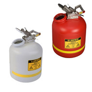 A photograph of a 02130 justrite disposal safety cans, polyethylene, 5 gallon, red or white.