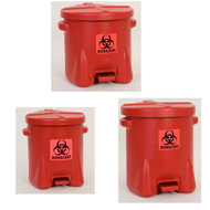 A photograph of a 02134 eagle biohazardous waste safety cans, red polyethylene.