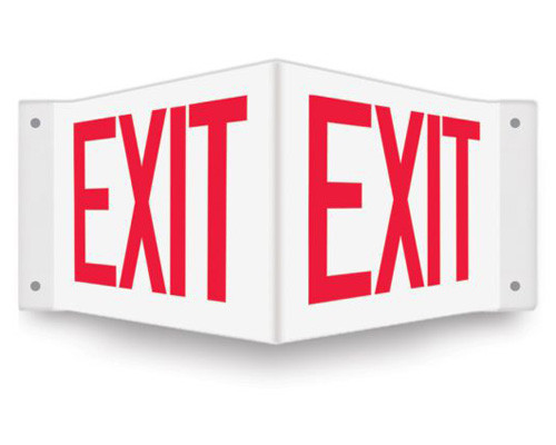 V-shaped white sign with red EXIT printed on both faces.