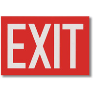 """Picture of the Exit Sign, White Lettering on Red Background, 12"""" w x 8"""" h."""