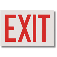 """Picture of the Exit Signs, Red Lettering on White Background, Self-Adhesive, 12"""" w x 8"""" h."""