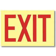 """Picture of the Sign, Exit, Glow in the Dark, self-adhesive vinyl, 12"""" w x 8"""" h."""