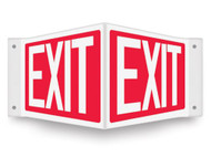 V-shaped red sign with white EXIT printed on both faces.