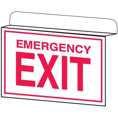 Sketch of the white drop ceiling sign that says EMERGENCY EXIT in red with a red border.