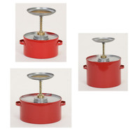 A photograph of red 02140 galvanized steel eagle safety plunger cans.