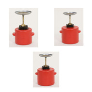 A photograph of red 02141 polyethylene eagle safety plunger cans.