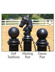 A photograph of black golf, hitching, and classic 02270 eagle armorkraft™ decorative post sleeves installed outdoors.