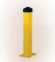 """Photograph of yellow square 5"""" width eagle bollard post with black HDPE post cap."""