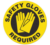 A photograph of yellow and black 05251 anti-slip safety floor markers, reading safety gloves required with graphic.