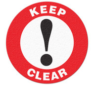 A red and white photograph of a 05254 anti-slip safety floor markers, reading keep clear with graphic.