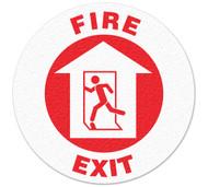 A photograph of red and white 05257 anti-slip safety floor markers, reading fire exit with graphic.