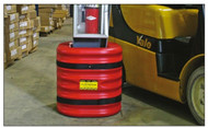 """Photograph of red 24"""" eagle mini column protector installed on column in facility."""