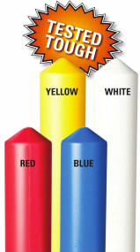A photograph of four 02280 eagle smooth bollard post sleeves with labeled colors.