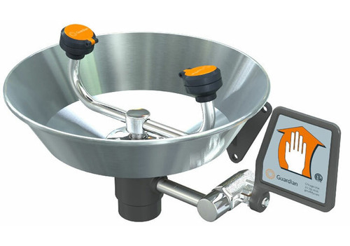A photograph of a guardian g1814 eyewash, wall mounted, stainless steel bowl.