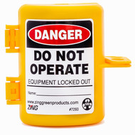 A photograph of a yellow 07001 zing recyclockout™ forklift propane tank lockout device.