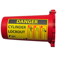 """A photograph of a red 07002 zing recyclockout™ gas cylinder lockout device with 3.5"""" diameter."""