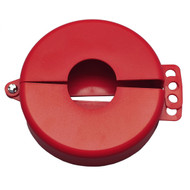 """A photograph of a red 07003 zing recyclockout™ gate valve lockout devices with 1"""" to 2.5"""" size."""