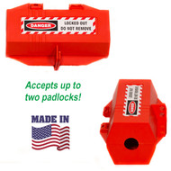 A photograph of a red 07011 zing electrical plug lockout devices from side and front, with drawing showing made in america status.