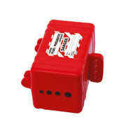 A photograph of a red 07012 zing electrical and pneumatic plug lockout device.