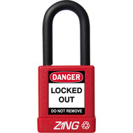 """A photograph of a red 07023 zing recyclock insulated safety padlocks with 1.5"""" shackle."""