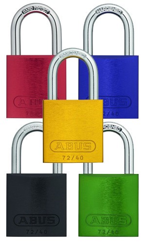 """A photograph of five assorted color 07024 abus aluminum padlocks for lockout-tagout, with 1.5"""" shackles."""