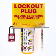 A photograph of a yellow 07013 zing recyclockout™ plug lockout tagout station, with electric plug lockout device, and red insulated safety padlock.