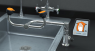 A photograph of a Guardian G1806 Eyewash, Deck Mounted, 90º Swivel mounted to the right of a sink (sink is not included).