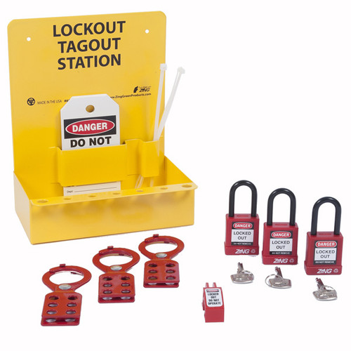 A photograph of a yellow 07052 zing recyclockout™ mini lockout station, with 3 insulated safety padlocks, 3 steel lockout hasps, single-pole circuit breaker universal lockout device, and 5 do not operate lockout tags.