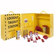 A photograph of a closed yellow 07060 zing recyclockout™ stainless steel lockout cabinet, and open yellow 07060 zing recyclockout™ stainless steel lockout cabinet equipped with insulated safety padlocks, lockout hasps, lockout devices, and lockout safety tags.