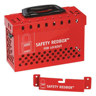 A photograph of a red 07061 safety redbox™ portable wall-mount group lockout box with included wall mounting bracket .